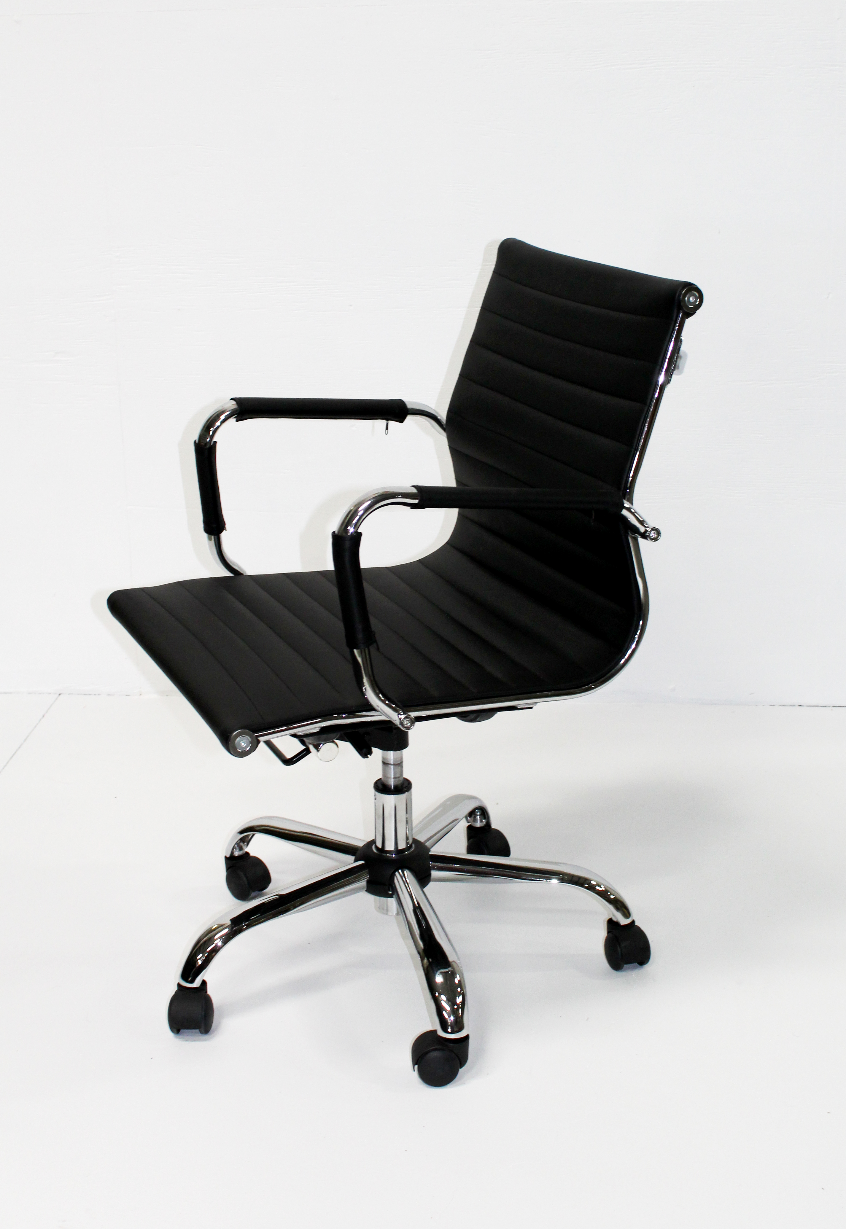 Black and Chrome Mid Back Conference Chair