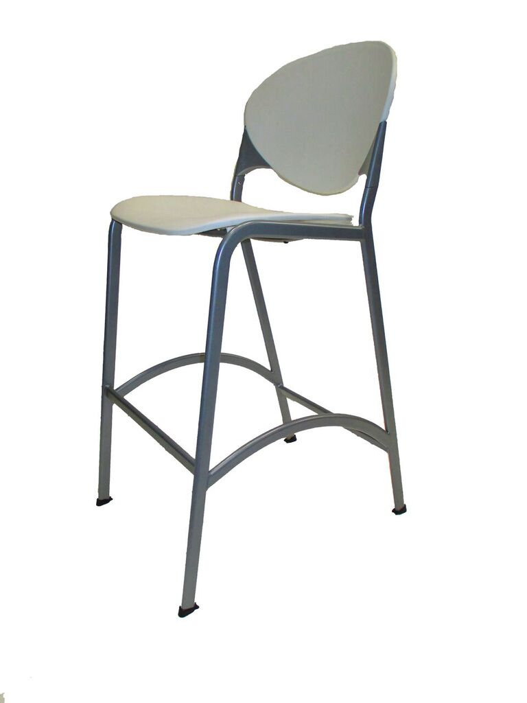 National Cinch Cafe Bar Stool White Amp Silver