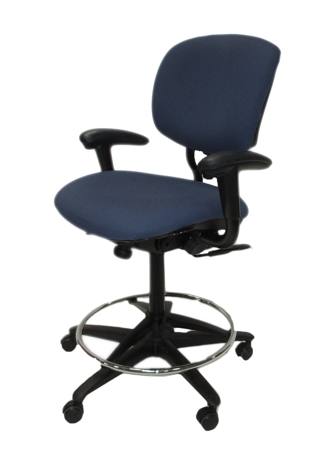 haworth improv he blue fabric drafting stool office chair - Haworth Chairs