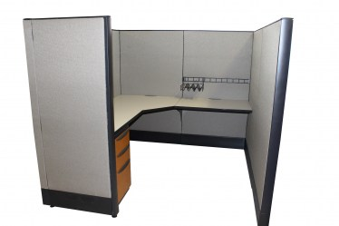 6x6 (53″) Haworth Premise Enhanced X Fabric Pattern Used Cubicles