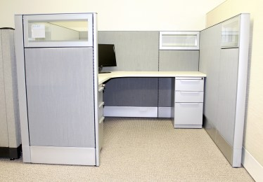6'x6' Haworth Premise Enhanced With Glass Used Cubicles