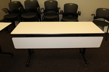 60″x24″ White Laminate with Black Trim Flip Top/Mobile Training Table By Versteel