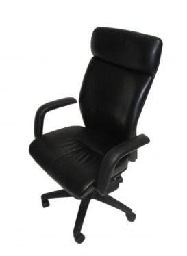 High Back Executive Chair with Black Leather
