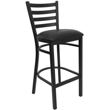 Black Ladder Back Metal Bar Stool by Space Seating