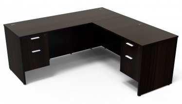 71″x78″ Kai L-Shape Desk with Double Suspended Pedestals
