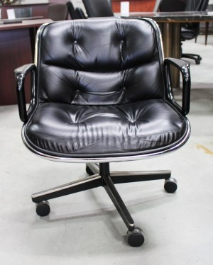 Knoll Pollock Vintage Black Leather 4 Star Chrome Conference Chair