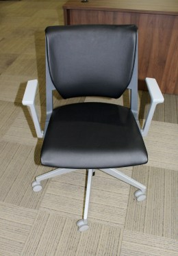 Haworth Very Black Leather Conference Chair