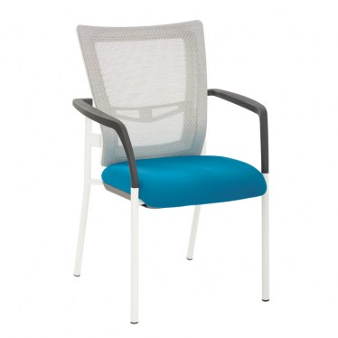 White Mesh Guest Chair with Color Seat by Space Seating