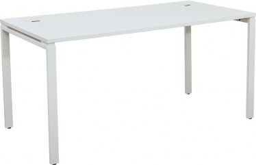 White Writing Desk with Black Laminate Top by Space Seating