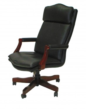 Taylor Black Leather with Mahogany Base Conference Chair