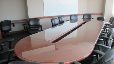 15' Cherry Race Track Shaped Glass Top Conference Table